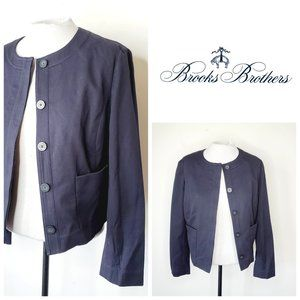 BROOKS BROTHERS Cropped Cotton Navy Classic Blazer